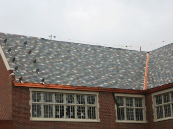 An asphalt roof on Monroe School by Jim Grey
