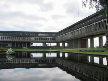 Academic Quadrangle pond at Simon Fraser University  Burnaby BC Canada