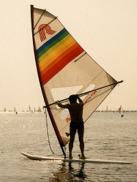 Windsurfing in the 1980s by Wikimedia Commons
