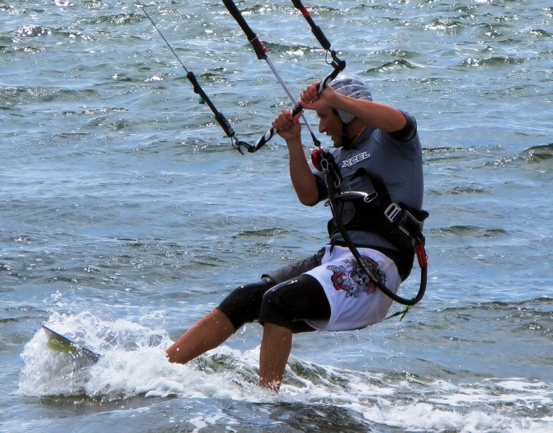 Close up  Kitesurfer at Exmouth South Devon England