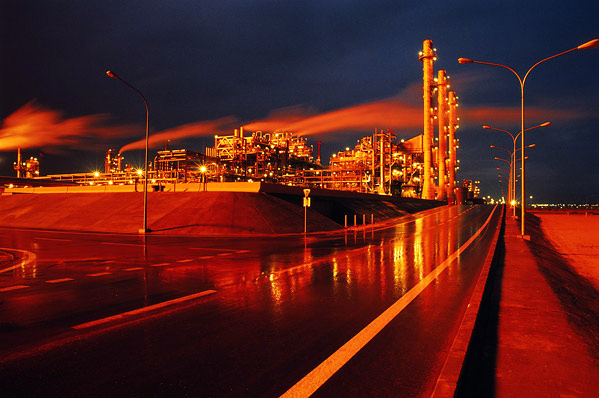 An oil refinery in Kuwait by Wikimedia Commons