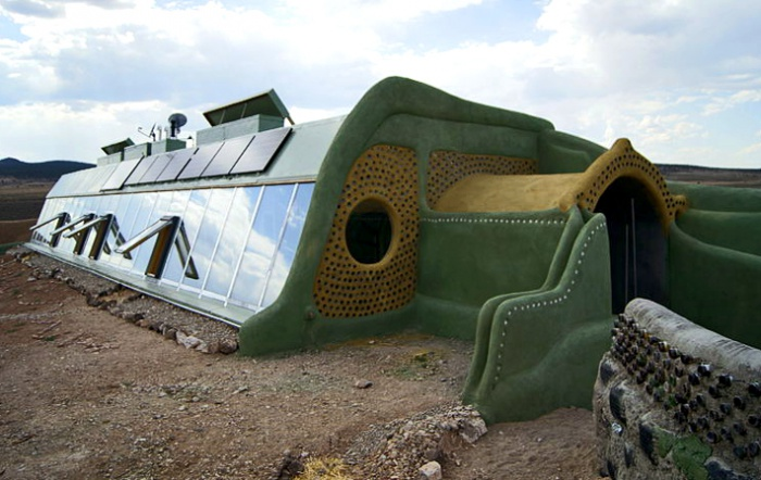 South and west view of Earthship passive solar home by Wikimedia Commons