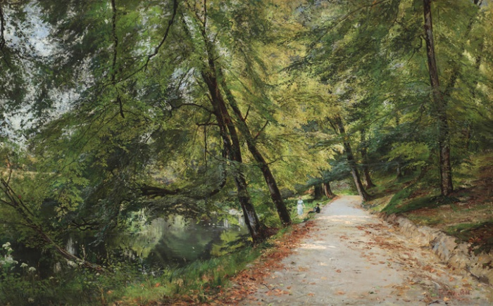 Frederik Winther  August Morning From a Path Along Sorgenfri Stream in Uno Langmann Gallery