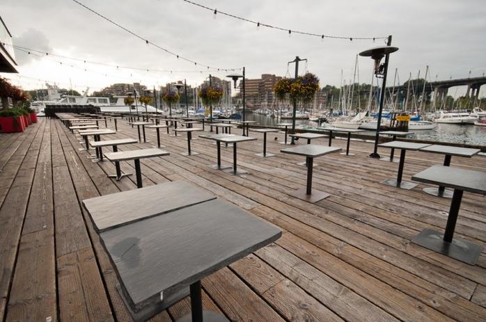 Granville Island bridge restaurant patio