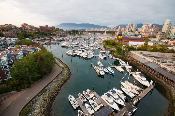 Granville Island marina aerial view