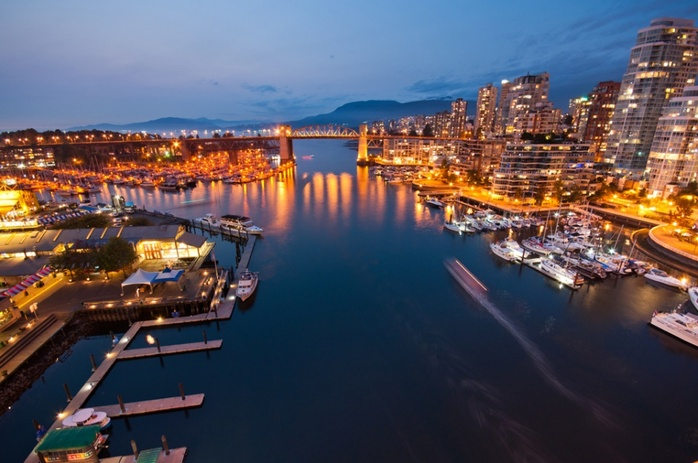 Granville Island night aerial view