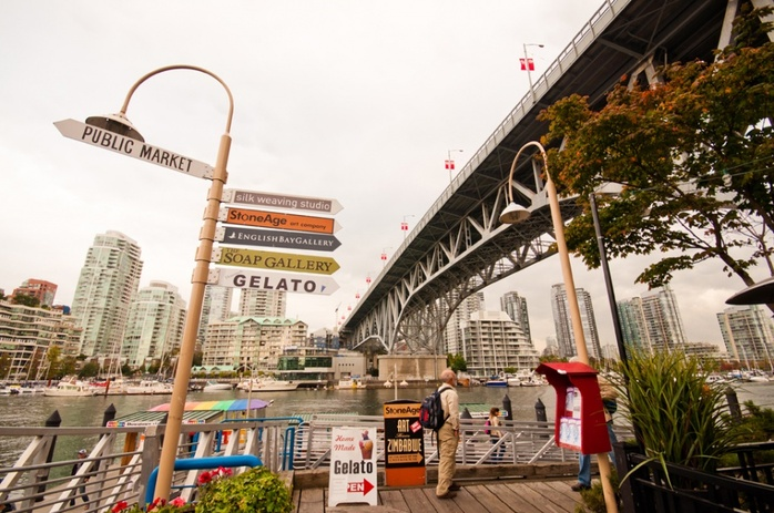 Granville Island signs under Burrard Bridge