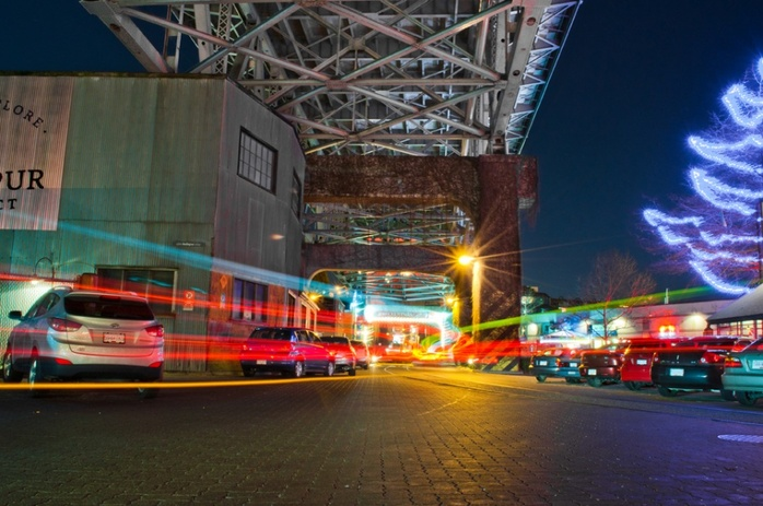 Night parking under Burrard Bridge