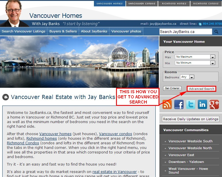 User guide vancouver homes for Advanced home search