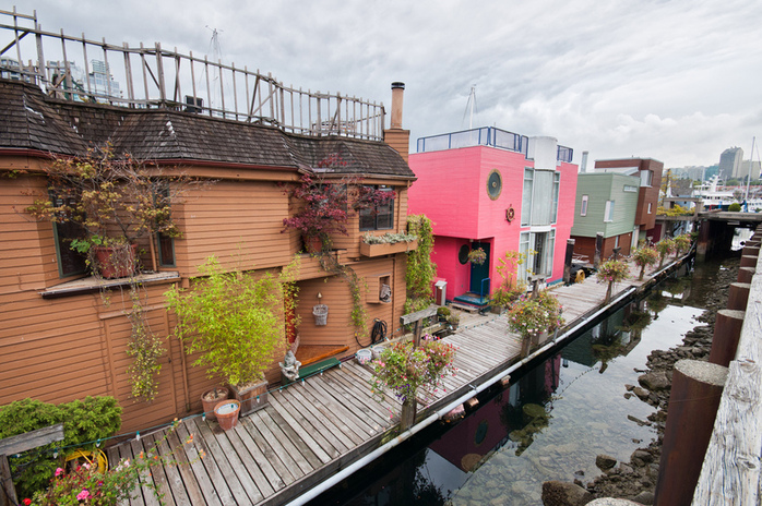 Granville Island colourful houses in seavillage