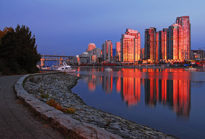 Apartment towers in False Creek