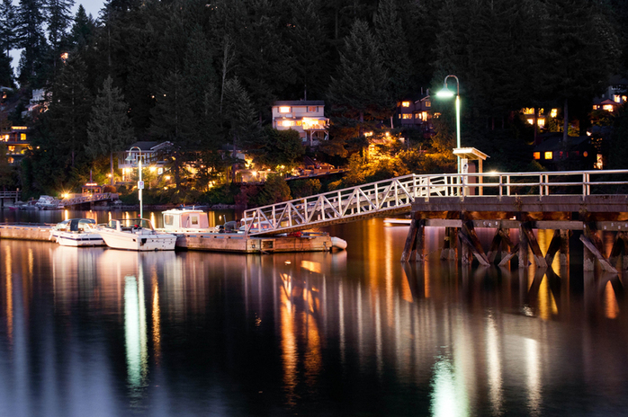 Deep Cove marina at night