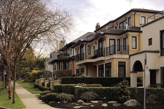 Kitsilano streetscape with townhouses