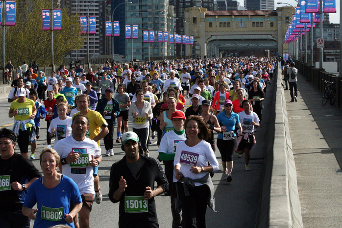 Athletes Running Across the Bridge Vancouver SunRun 2013