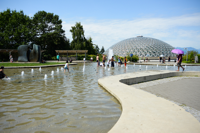 Fountains Outside Bloedel Conservatory in Vancouver