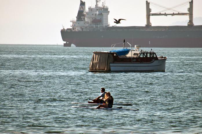 Kits Beach Kayaking Near Ships