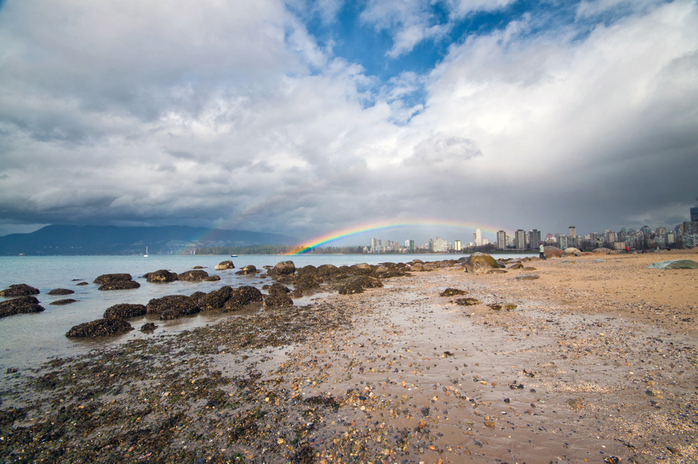 Kits Beach View of Vancouver With a Rainbow