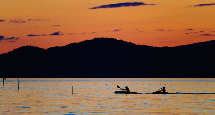 Sunset With Kayakers From Jericho Beach