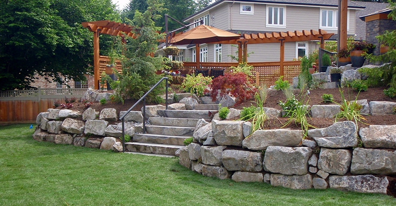 Natural Retaining Walls by No Limit Landscaping