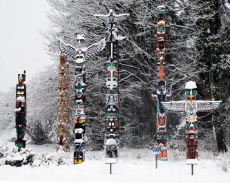 Totem Poles in Winter