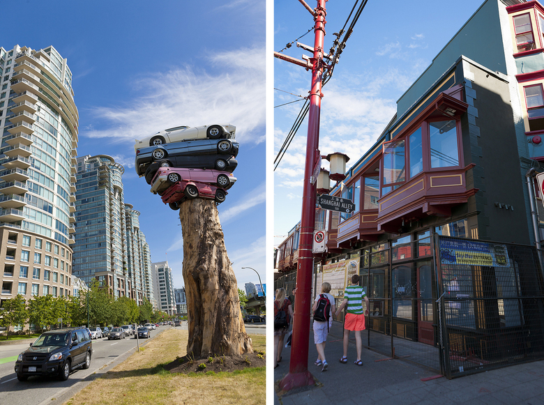 The Trans Am Totem and the Sam Kee building