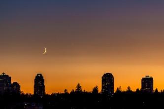 Moon and Jupiter at Sunset