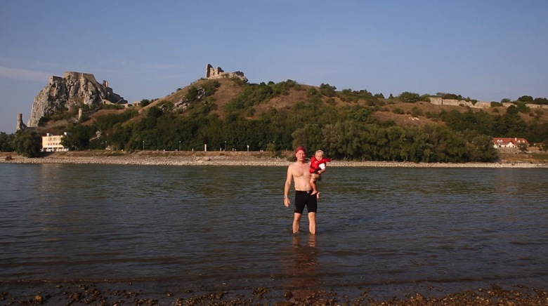 Constantin with Alec in Danube river Alec birthday
