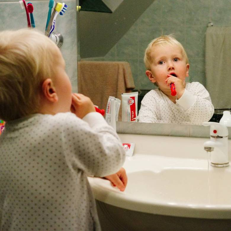 Constantin brushing his teeth