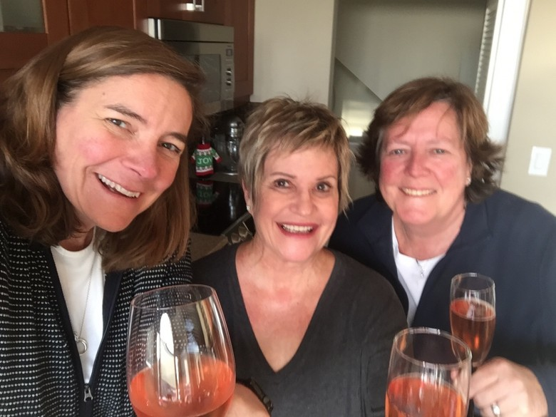 Julie, Auntie Mo, Mary toasting the Season December 2016