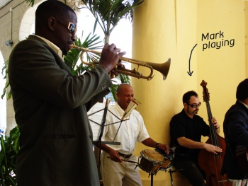 Cuban trumpet player and drummer jam with Mark
