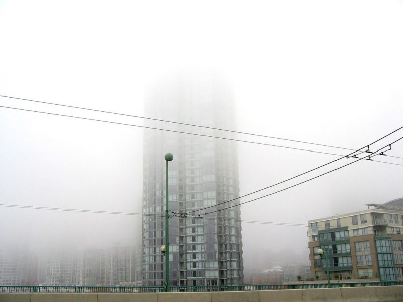 Downtown Vancouver in fog