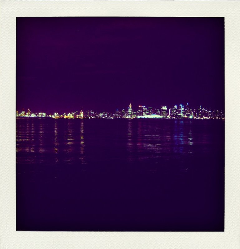 Vancouver skyline in blue