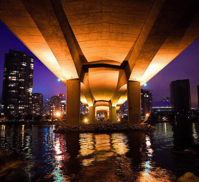 Water under Cambie Street Bridge